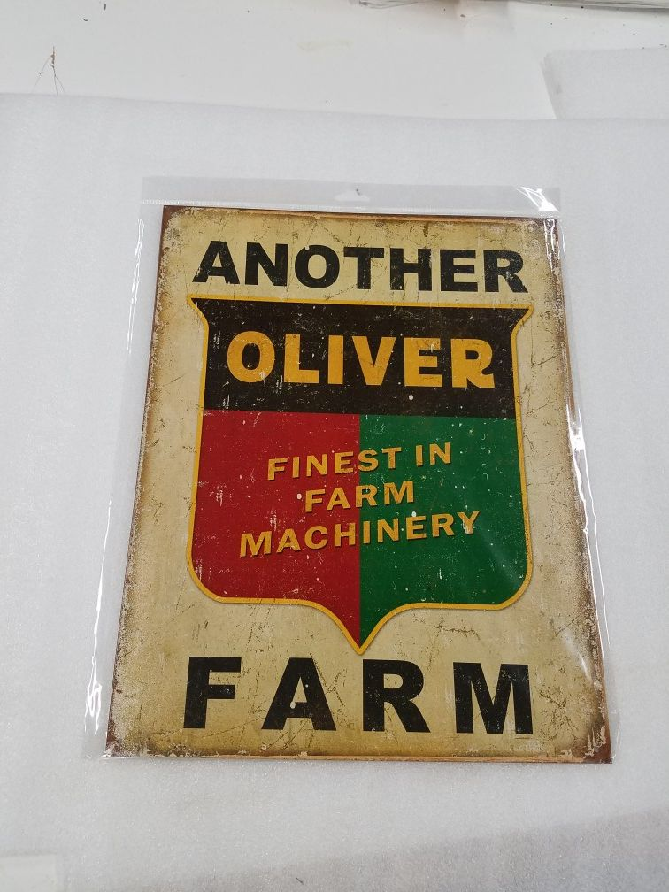 Oliver farm tractor equipment metal sign