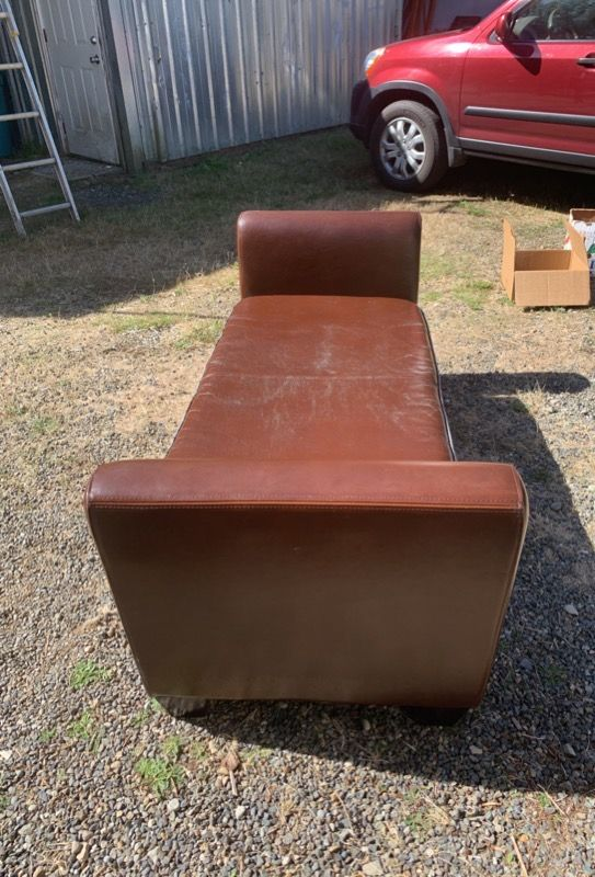 Brown Recamier/Backless Couch