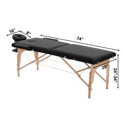 """Dermalogic Professional Portable Folding Massage Table Bed with Carrying Case, Black (74"""" L x 28"""" W) Thumbnail"""
