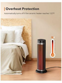 """1500W Fast Heating Ceramic Tower Fan Heater, 24"""" High Oscillating Portable & Quiet with Remote ECO Mode 12H Timer Tip-Over Switch Overheating Protect Thumbnail"""