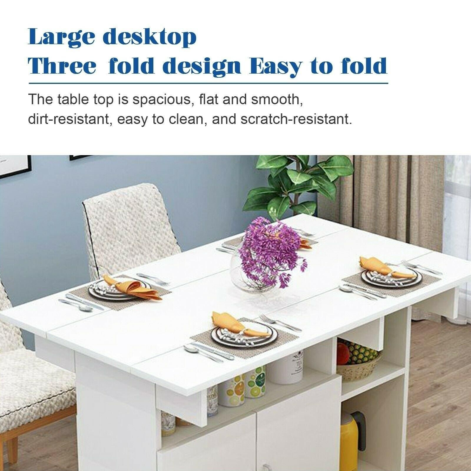 Mobile Drop Leaf Kitchen Dining Table Folding Desk With Wheels Storage Shelves