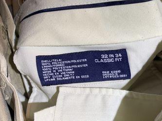 Men's beige / tan dress suit, off-white paisley vest / tie, tux travel bag, 38L jacket, 32x34 pants Thumbnail