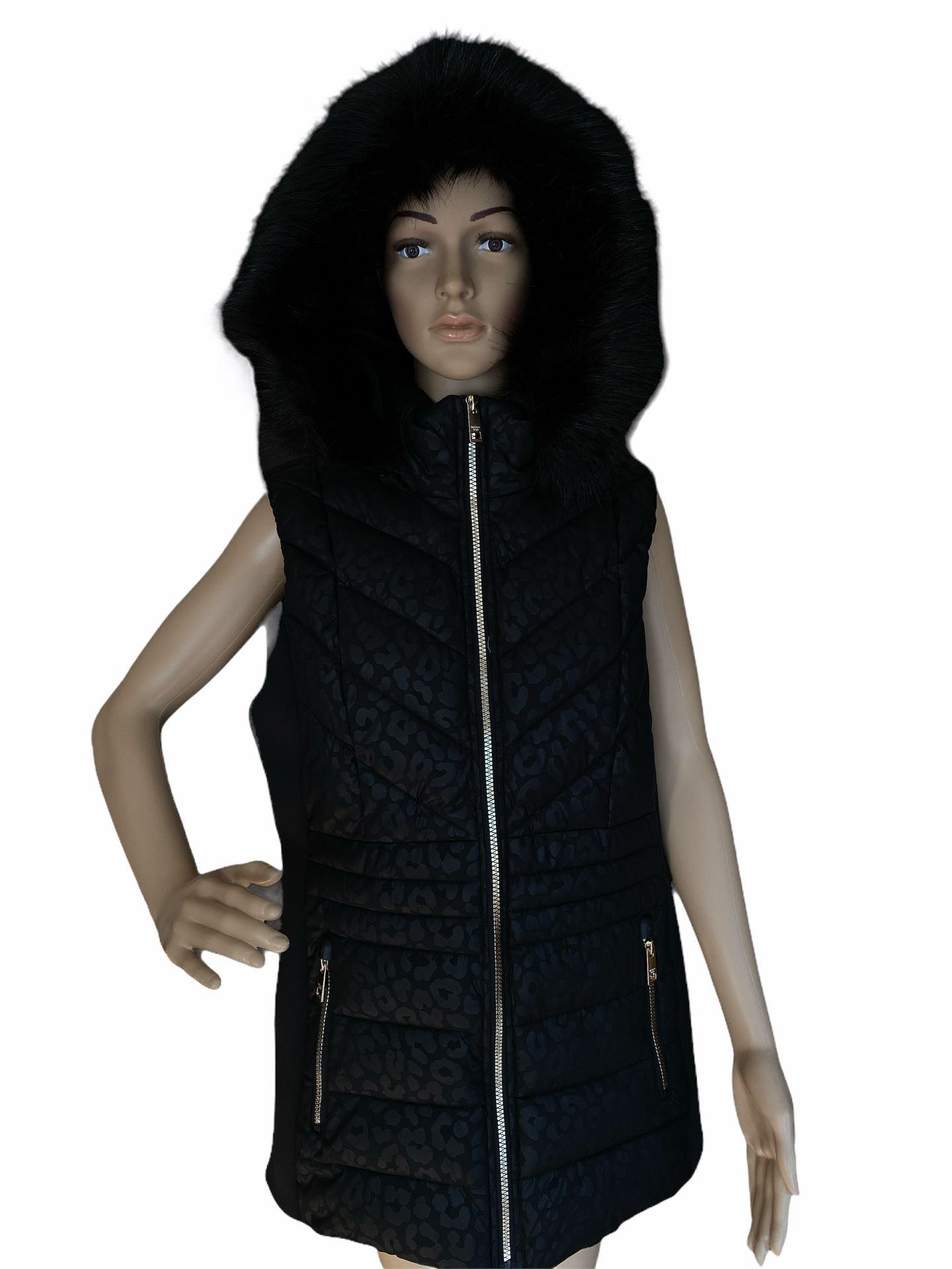 NWT Michael Kors Faux Fur Trim Hooded Short Embossed Vest