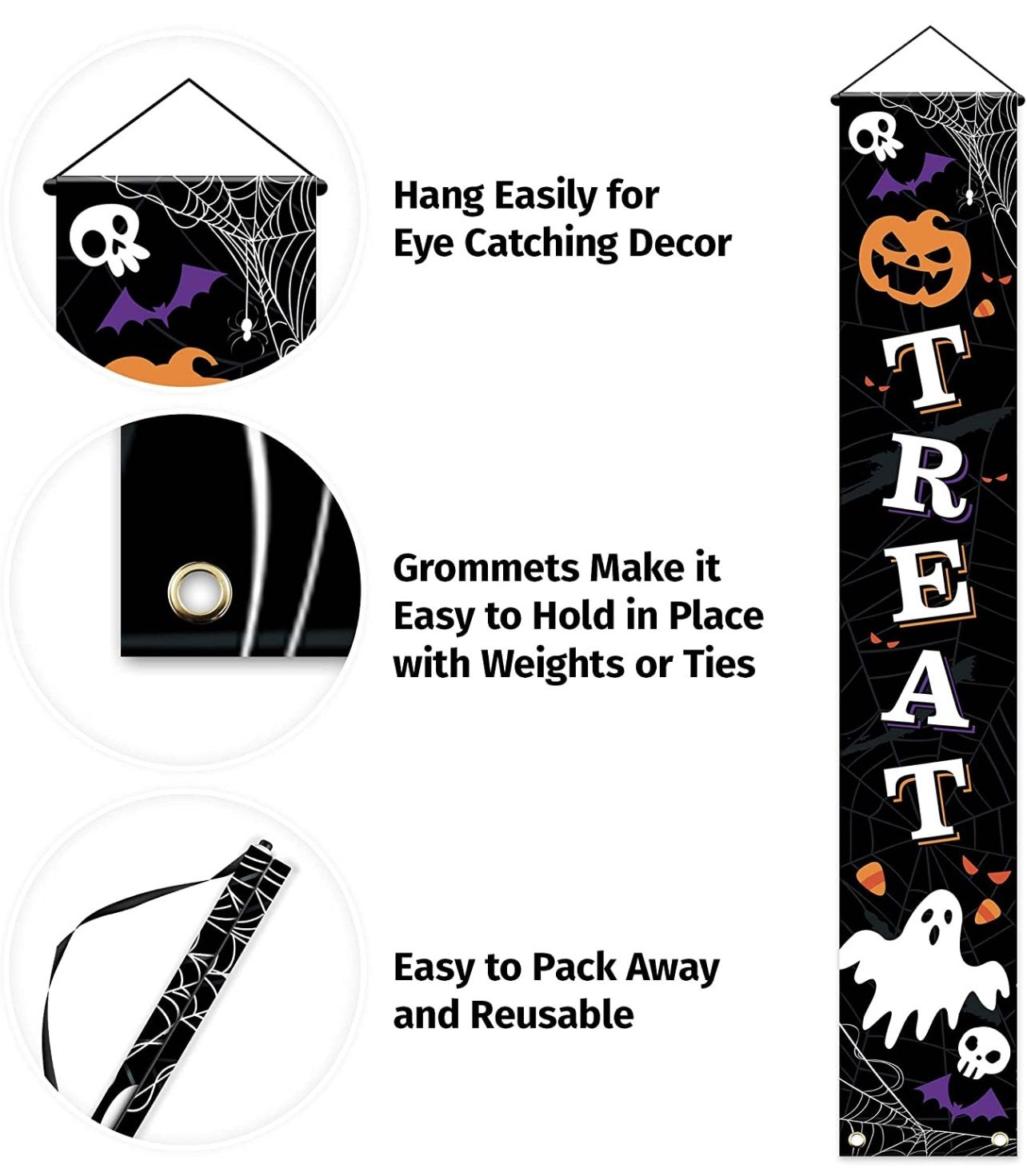 Outdoor Halloween Decorations Decor - Front Door Trick or Treat Banner Hanging Halloween Porch Decorations Outdoor Clearance Signs for Home Welcome Si