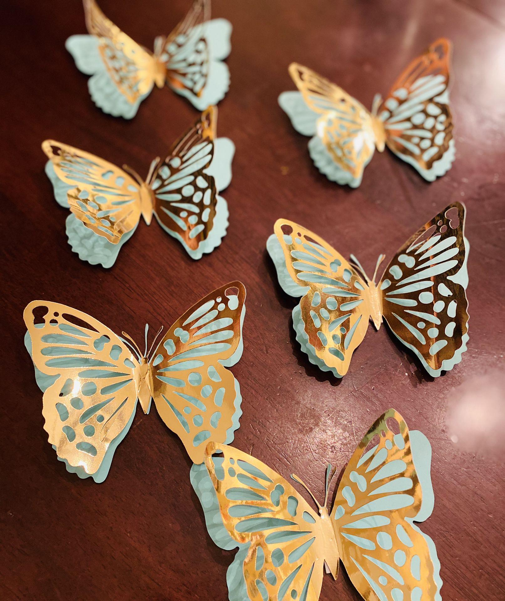 3D Teal and Gold Butterflies 🦋