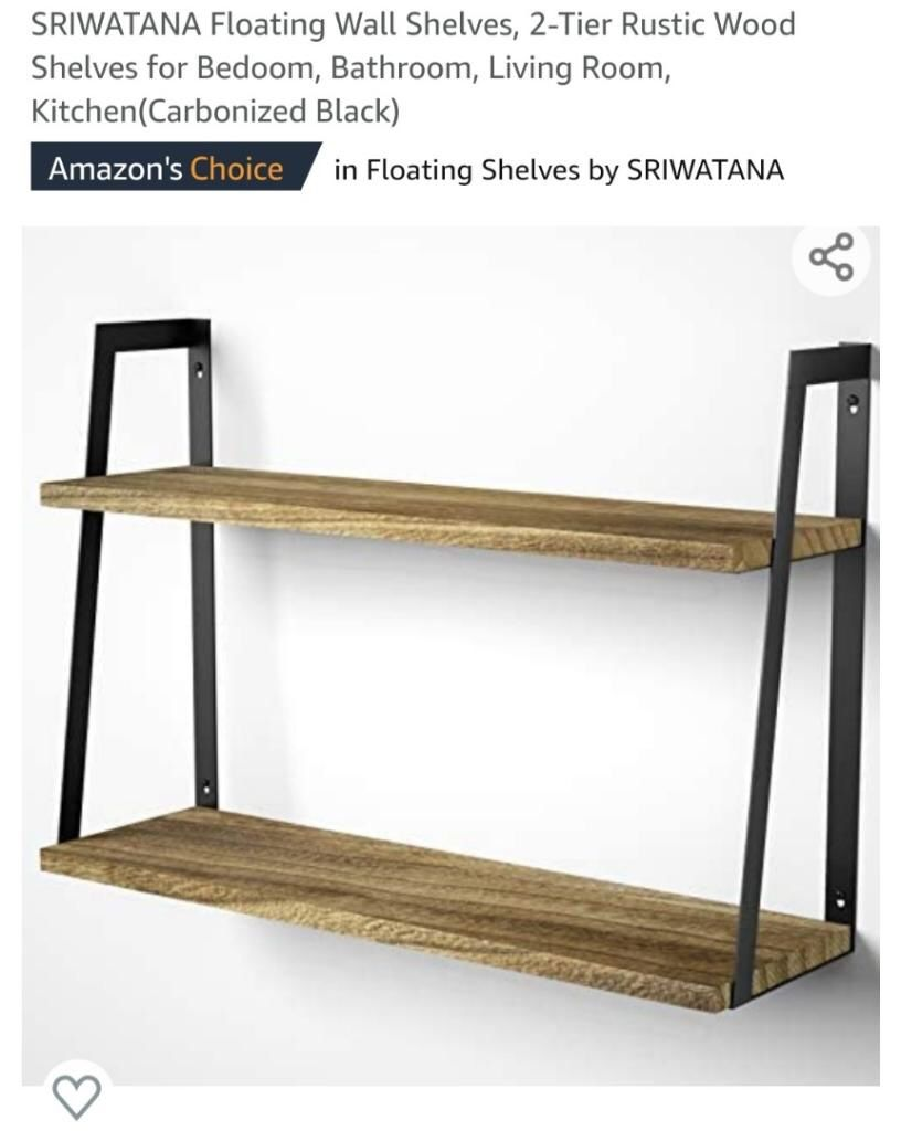 2-Tier Modern Rustic Floating Wall Shelves - Wall Mounted Wood Shelf for Display, Books, Storage & Decor - for Bathroom, Office, Living Room, Bedroom,