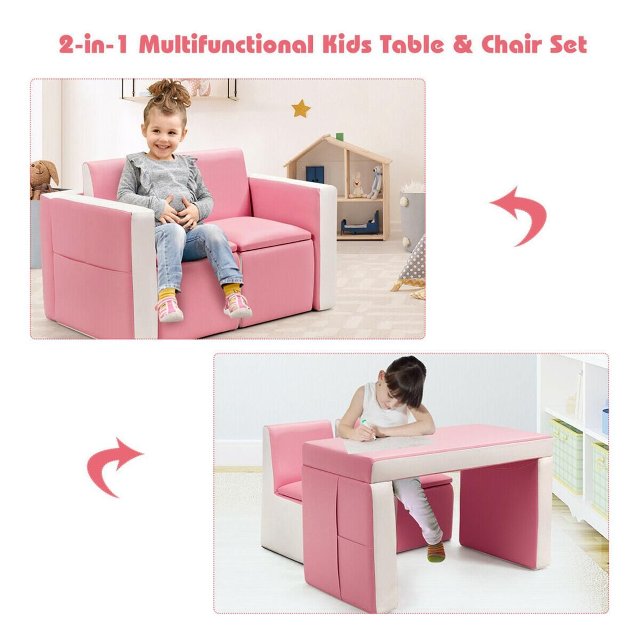 Gymax Multi-functional Kids Sofa Table Chair Set 2 Seat Couch Furniture W/Storage Box