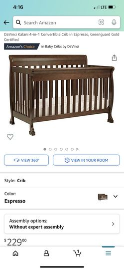 4 in 1 Convertible Crib In Espresso And Mattress Thumbnail