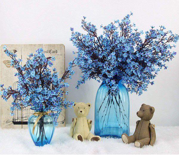 Cloth Artificial Flowers 6 Bundle European, Color: Blue-6pcs