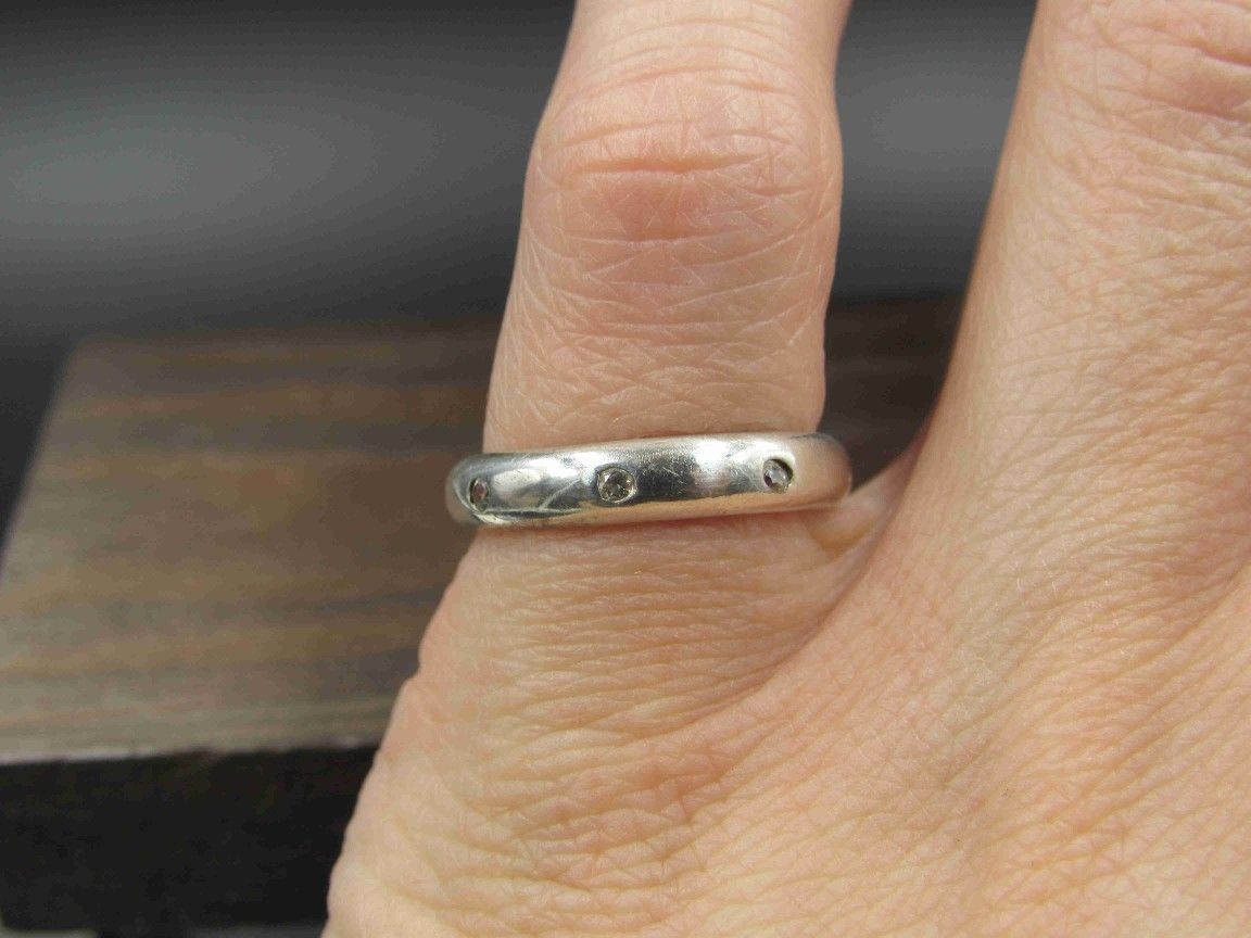 Size 5.5 Sterling Silver Cubic Zirconia Plain Band Ring Vintage Statement Engagement Wedding Promise Anniversary Bridal Cocktail Friendship