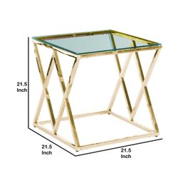 Saltoro Sherpi Diamond Shaped Metal Accent Table with Glass Top, Gold Thumbnail