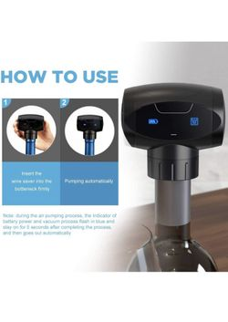 Wine Vacuum Stopper, Battery Powered Automatic 2-in-1 Electronic Wine Savers Thumbnail