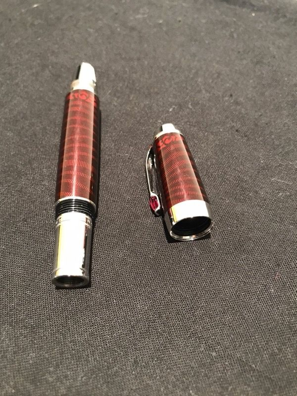montblanc red noir fountain pen with red stone