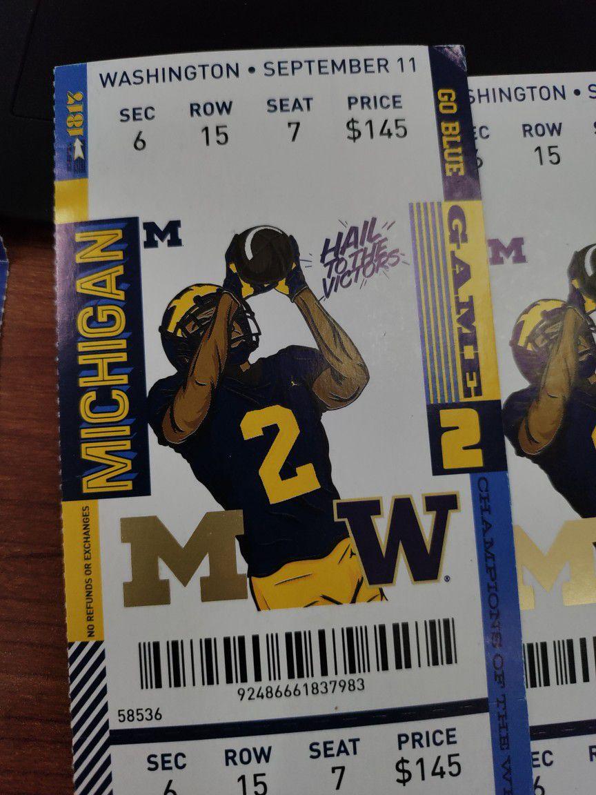 4 Michigan Versus Washington Tickets September 11th