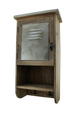 Rustic Reclaimed Wood Wall Cabinet w/Shelf and Hooks 20 in. Thumbnail