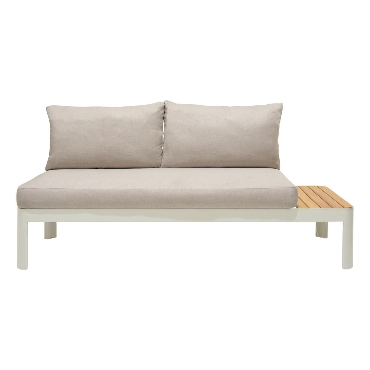 Saltoro Sherpi Outdoor Sofa with Slatted Snack Tray and Removable Cushions, Light Gray