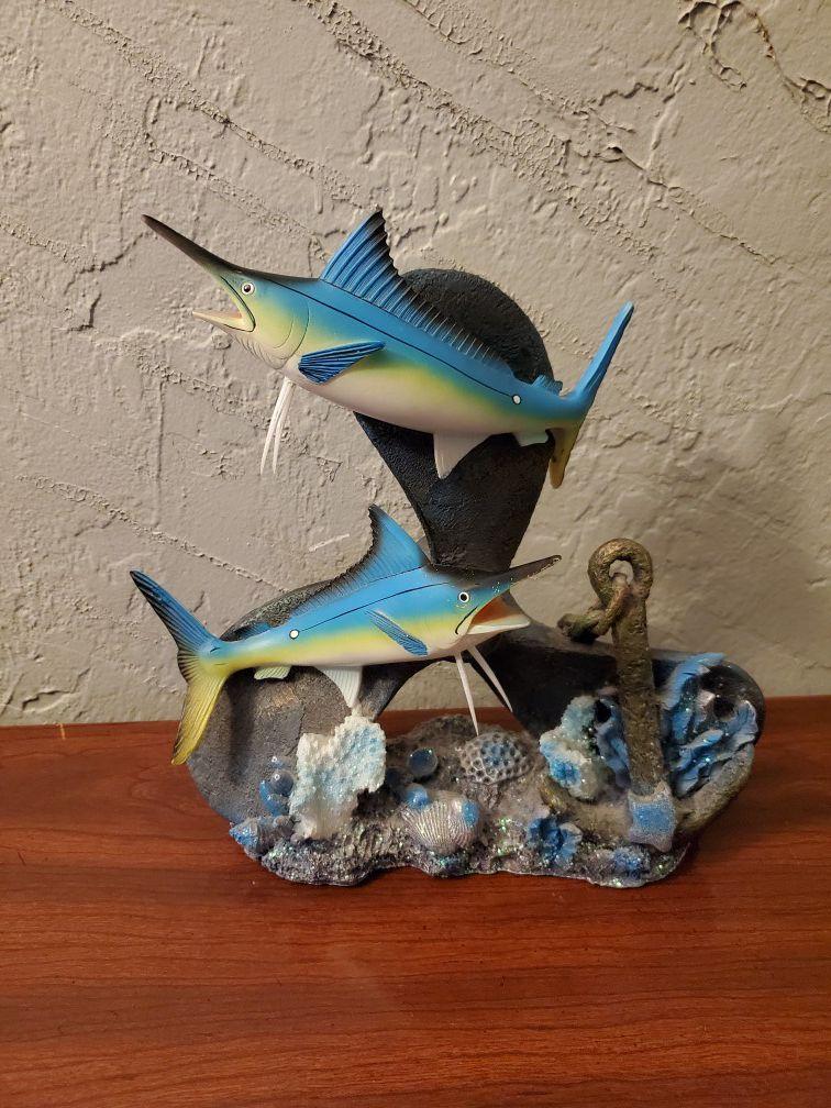 Fishes on propeller with glittery shells decor beach theme coastal nautical