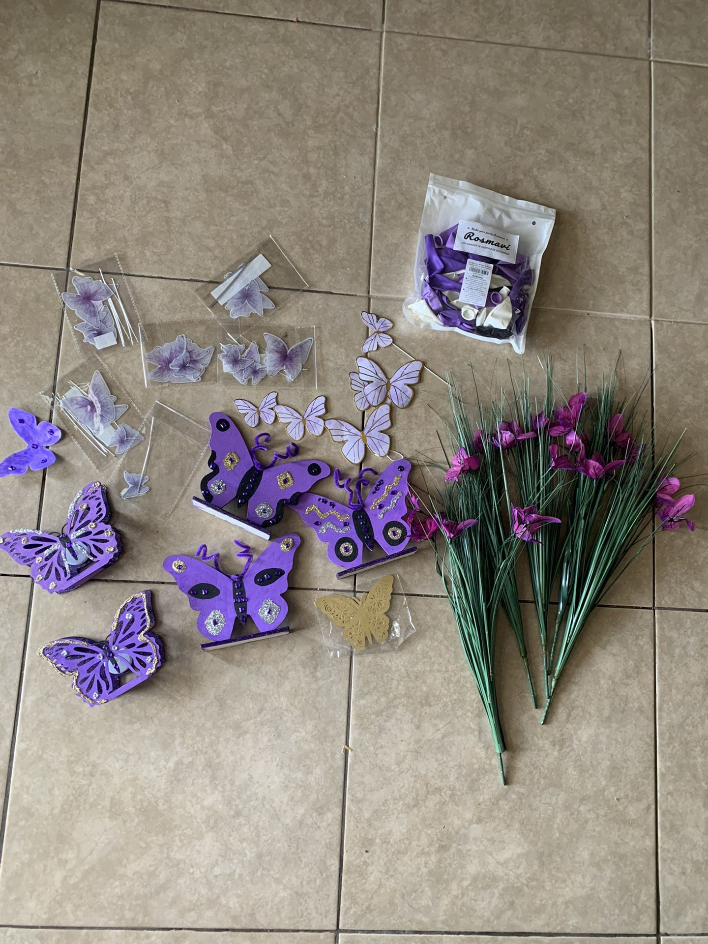 Purple Butterfly Party Decorations Number 1 Balloons