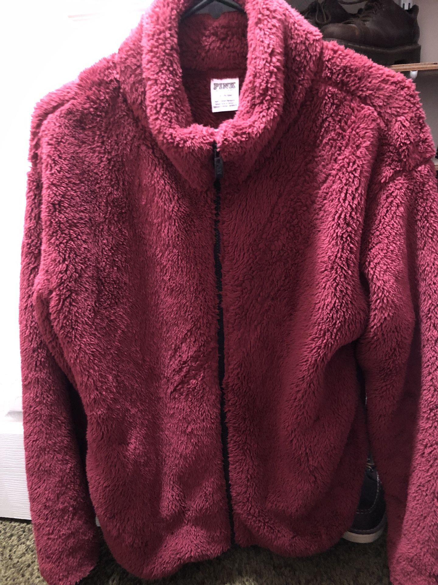 Victoria Secret Pink Teddy Sherpa Zip Up Jacket