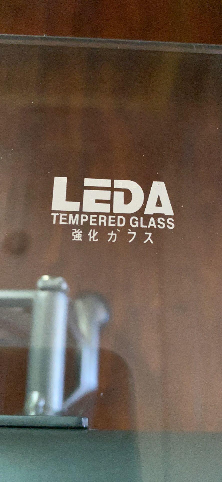 L SHAPED GLASS TWO PIECE DESK