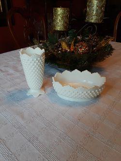 2 piece set of white milk glass Thumbnail