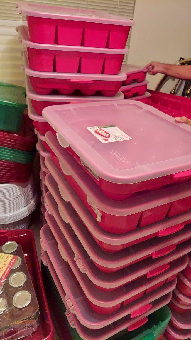 Plastic Stackable Storage Bins....$20--4ft Long Bin. Ornament Holder $7 Others $5.