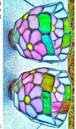 """Pink floral stained glass light lamp shades 2"""" D rim for desk lamp hanging shades or ceiling lamps Thumbnail"""