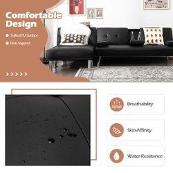 Gymax 3-Piece Sectional Sofa Set Convertible Futon w/Single Sofa & Ottoman Black Thumbnail