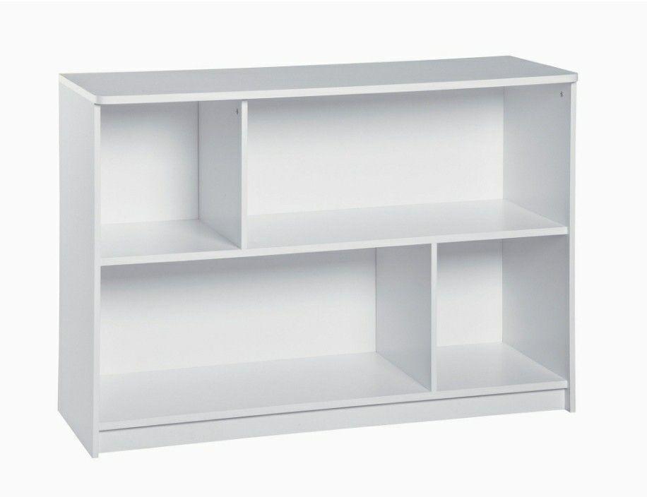 Sturdy 2-Tier Horizontal Storage Shelf/ Bookcase, White