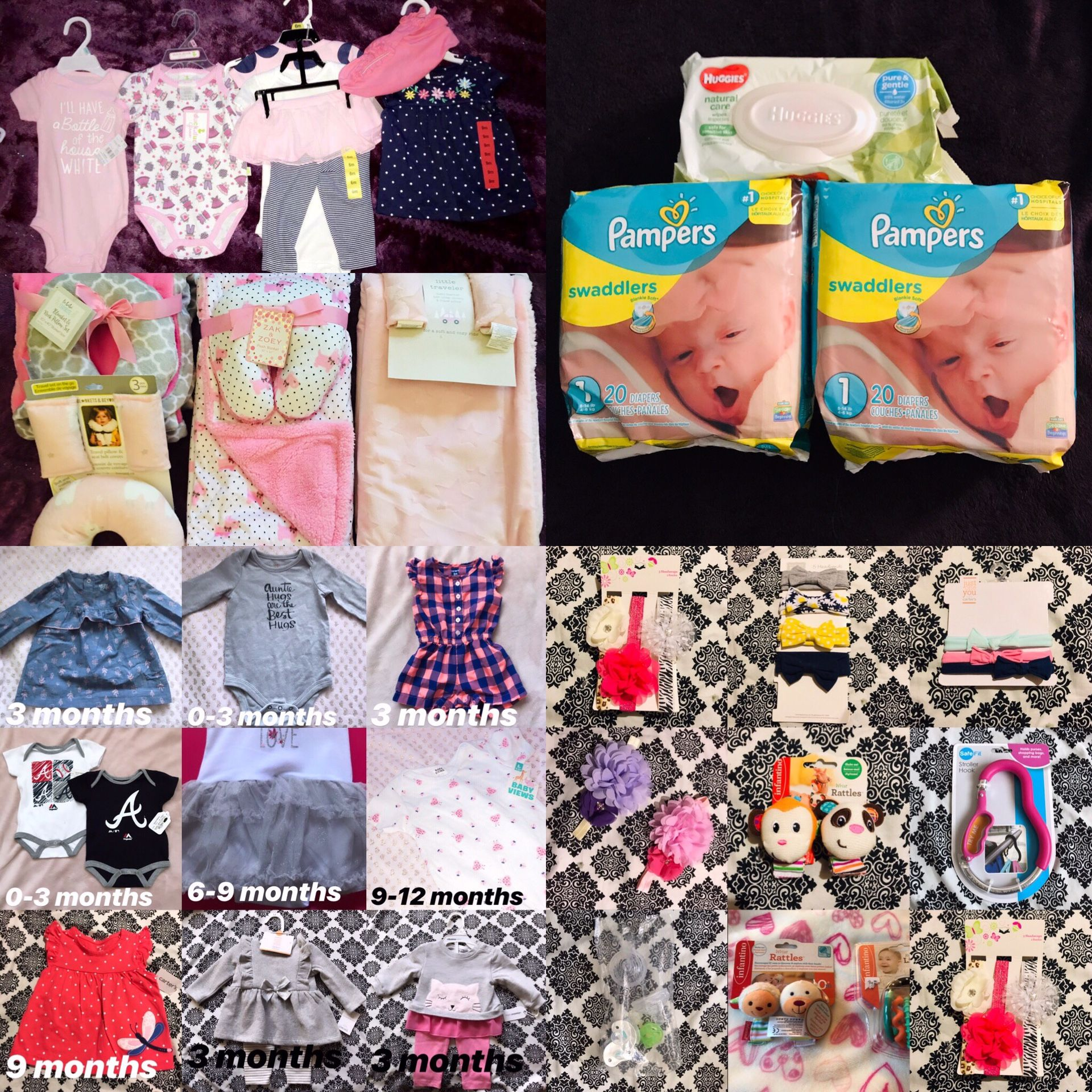 14 new outfits 4 blankets 2 packs of pampers with huggies wipes, bows, toys, and pacifiers
