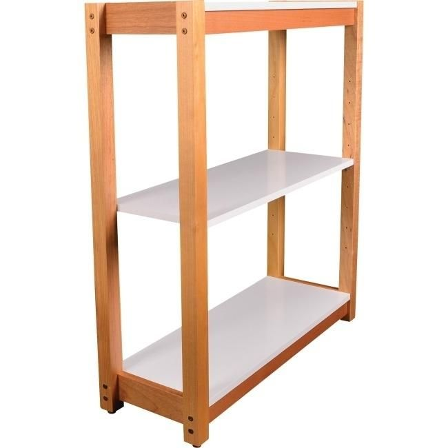 Lorell LLR34505 Mid-Century Modern 3-Shelf Bookcase, White