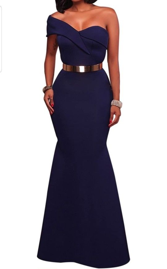 Women's Sexy Off The Shoulder Oversized Bow Applique Evening Gown Party Maxi Dress
