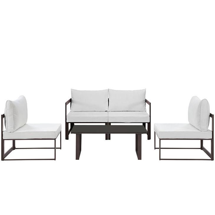 Fortuna 5 Piece Outdoor Patio Sectional Sofa Set, Brown White