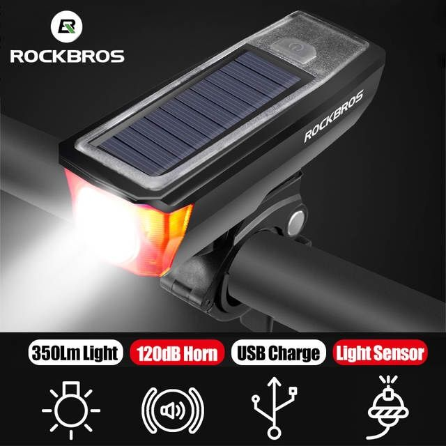 ROCKBROS Rechargeable Bike Headlight Bicycle-Horn