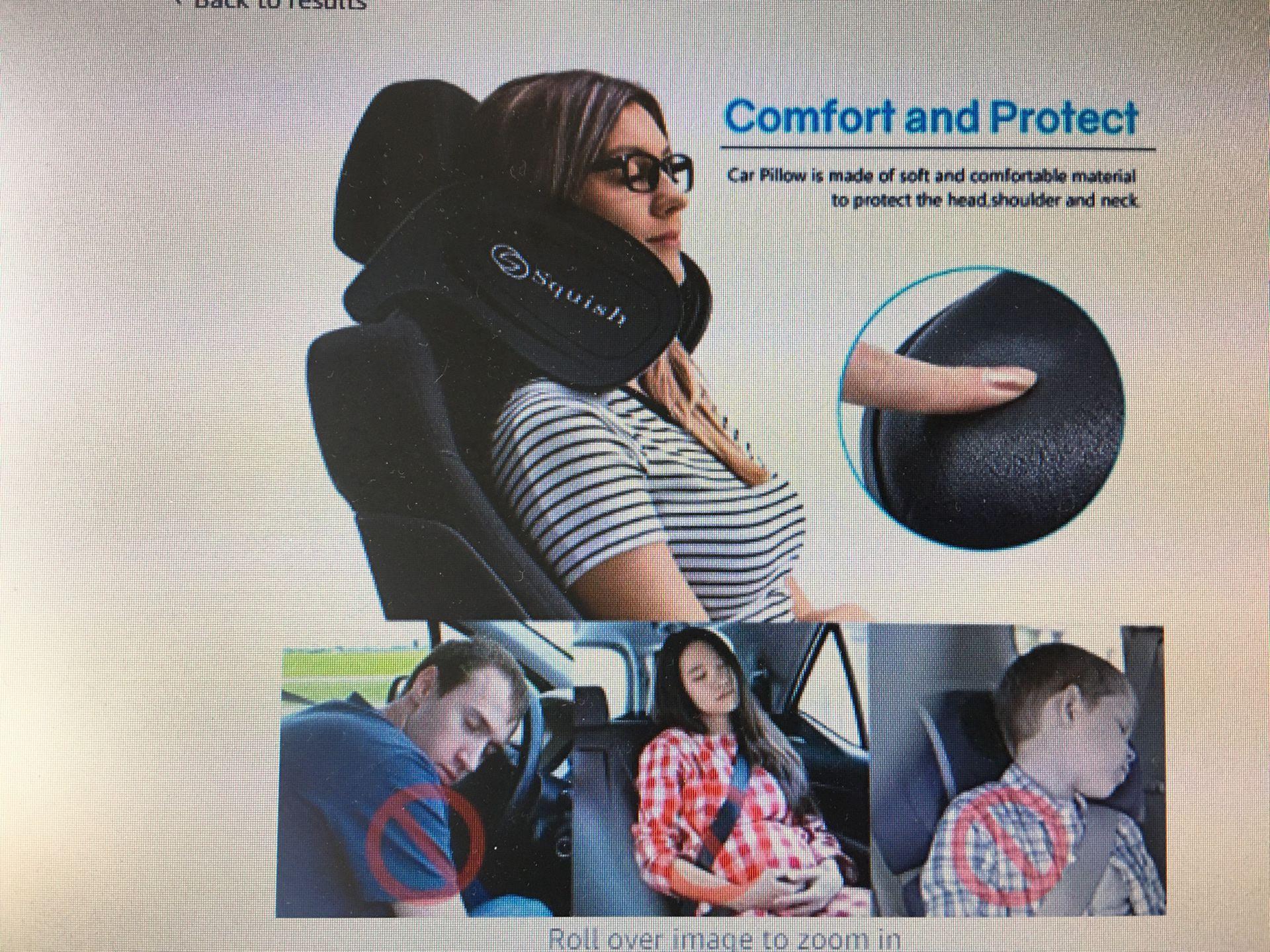 squish Car Headrest Pillow, Car Neck Pillow Head Pillow, Car Seat Pillow Child Travel Sleeping Cushion, Car Neck Head Shoulder Sleep Cushion Car Side