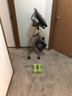 Folding Recumbent Bike + Pair of 8 LB Dumbbells  Thumbnail