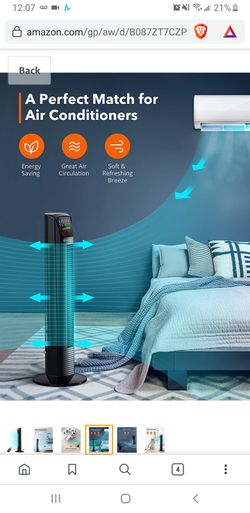 New in sealed box, Tower Fan Oscillating Fan Powerful Floor Fan with Remote and Large LED Display, 9 Modes, Easy Clean, Up to12H Timer Bladeless Fan Thumbnail