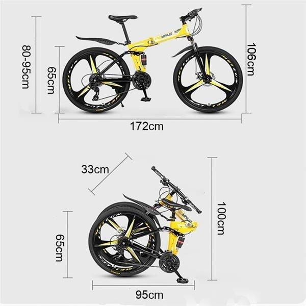 White 26 inch 21-speed folding mountain bike spoke wheel dual suspension bike for adult