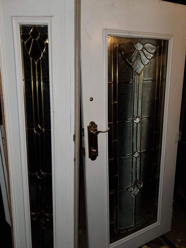 Stained beveled Front Door & partition