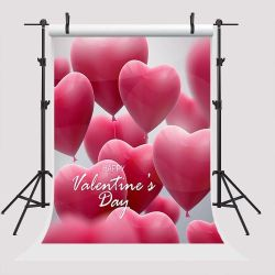 5x7ft Happy Valentine's Day Photo Background for Pictures Backdrops Pink Heart Balloon Photo Booth Props Thumbnail