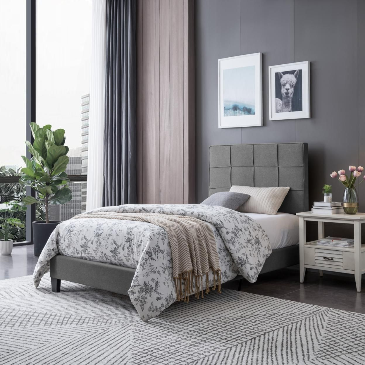 Madera Contemporary Upholstered Twin Bed Platform