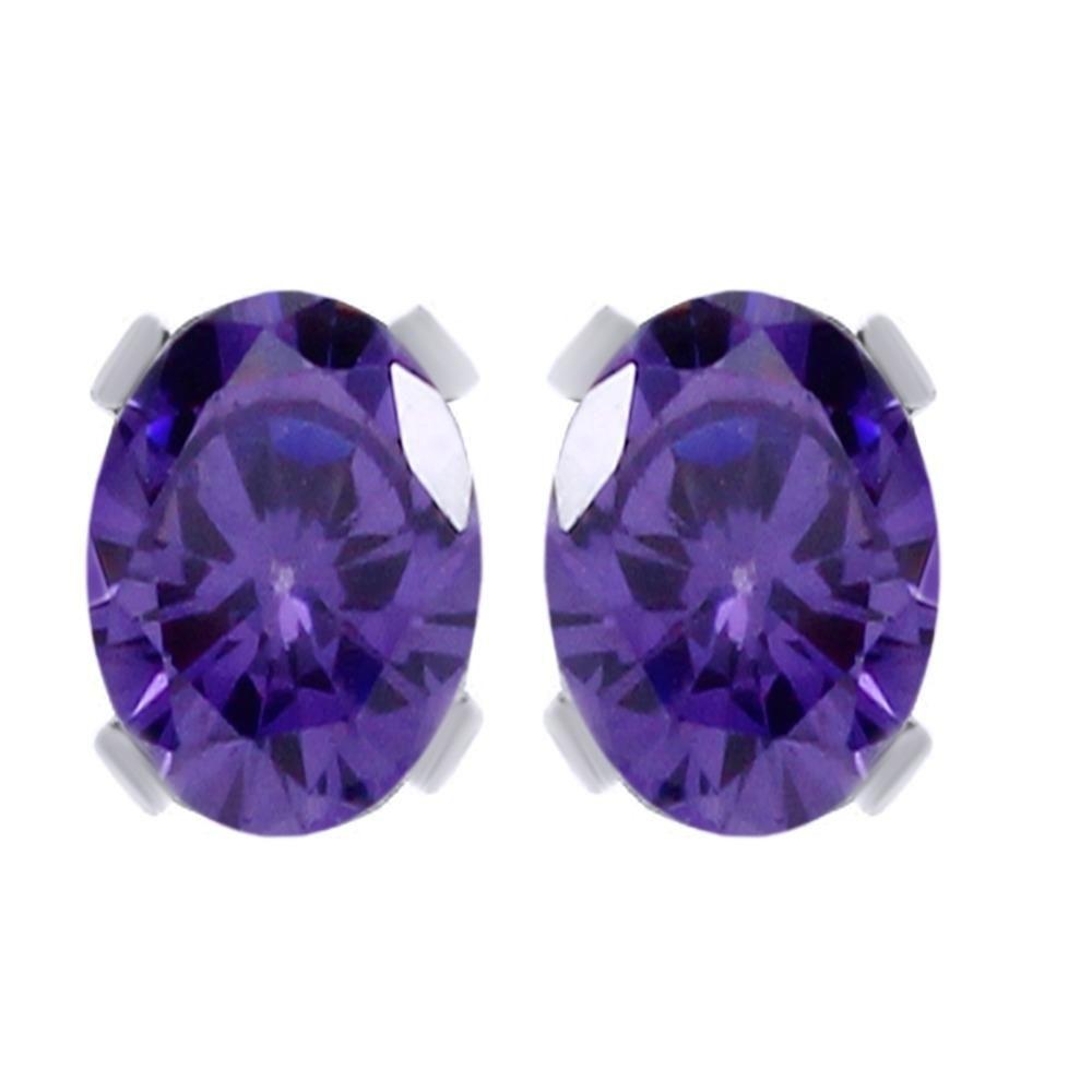 3.10 Ct Oval Shape Blue Tanzanite 18K White Gold Over Stud Earrings