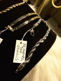 "10"" Bracletes/Anklets gold & StainlessSteel 20$-21$ Thumbnail"