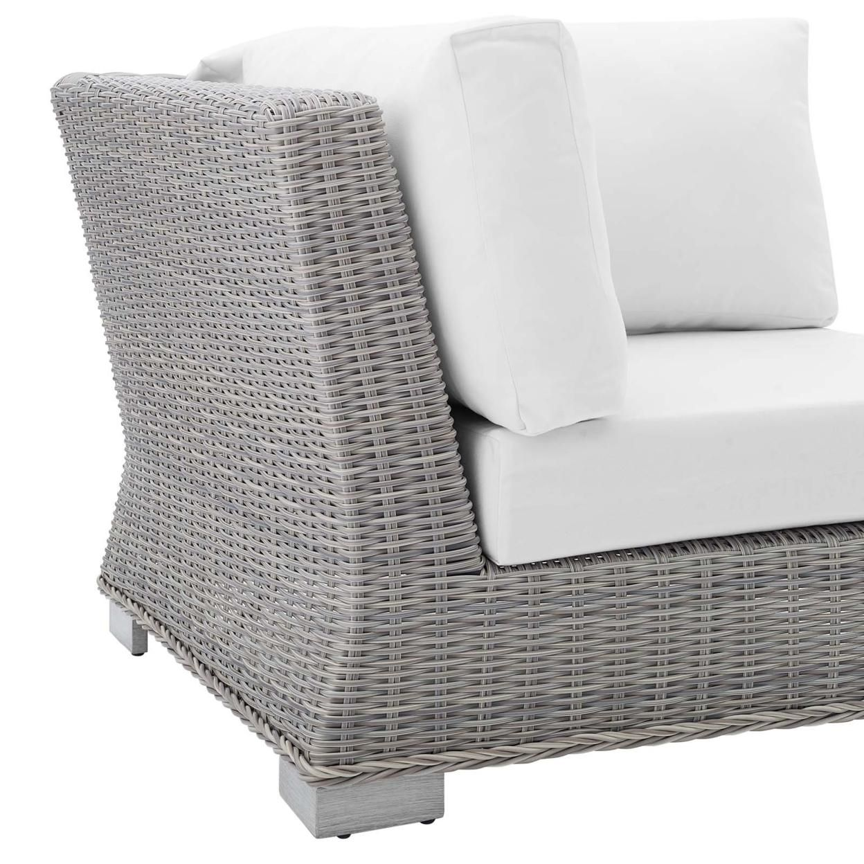 Conway Sunbrella� Outdoor Patio Wicker Rattan Corner Chair, Light Gray White