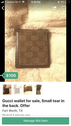 Gucci wallet for sale, small tear in the back. Offer Thumbnail