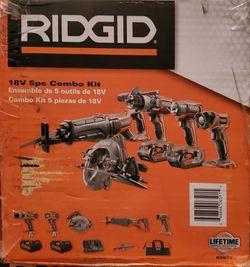 Ridgid 5pc Combo Kit Lithium Cordless Brand New Thumbnail