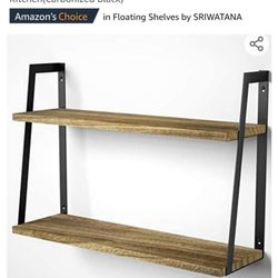 2-Tier Modern Rustic Floating Wall Shelves - Wall Mounted Wood Shelf for Display, Books, Storage & Decor - for Bathroom, Office, Living Room, Bedroom, Thumbnail