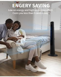 Tower Fan for Bedroom- 48'' Oscillating Fan with Remote, Cooling, Quiet, Large LED Display, 12-Hour Timer, Electric Black Standing Bladeless Fan for W Thumbnail