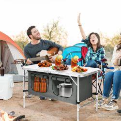 Costway Adjustable Camping Table Aluminum w/ Storage Organizer Grey Thumbnail