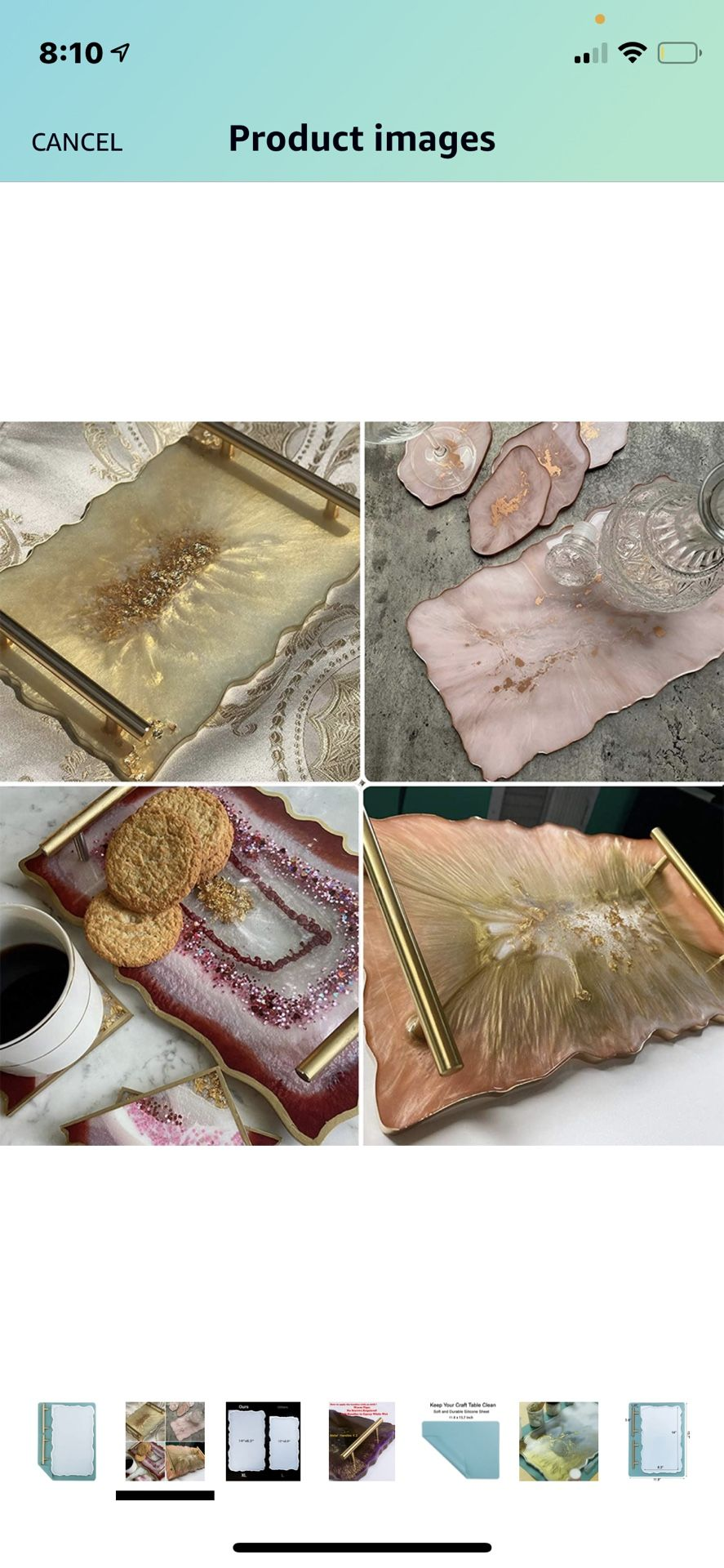 XL Resin Tray Molds With Gold Handles And Metallic Decoration